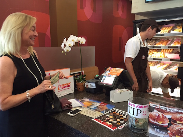 Donna A. Laurent, CFLS at the new San Fernando Valley Dunkin' Donuts in Encino, CA